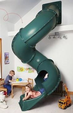 thinking of ideas for the kids playroom.since we can& have a playground outside Indoor slide.thinking of ideas for the kids playroom.since we cant have a playground outside Indoor Playroom, Kids Indoor Playhouse, Modern Playroom, Kids Indoor Playground, Build A Playhouse, Playground Design, Outdoor Playhouses, House Slide, Indoor Slides