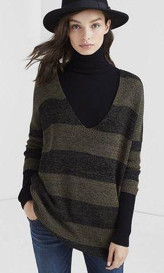 Marl Stripe London Tunic Sweater | Express