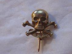 Antique 18K Solid Gold Skull & Bones Yale Secret Society Fraternity Pin Badge