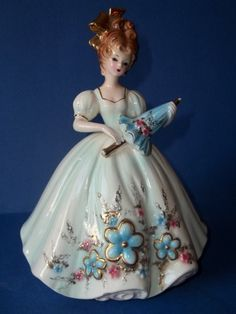 "Vintage Josef Originals - 8"" Lady with Blue Dress Holding Parasol"