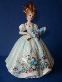 "*VINTAGE ~ Josef Originals 8"" Lady with Blue Dress holding Parasol Figurine Figure | eBay"