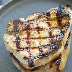 perfectly grilled pork chops stacked on a plate Pork Rib Recipes, Grilling Recipes, Cooking Recipes, Grilled Pork Chops, Grilled Meat, Pork Loin, Pork Roast, Chocolates, Short Ribs Slow Cooker