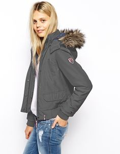 Hilfiger Denim | Hilfiger Denim Bomber Coat With Faux Fur Hood at ASOS