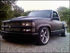 Pix For > Flat Black Chevy Truck