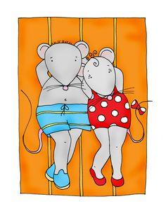 Free Dearie Dolls Digi Stamps: Sunbathing Kip and me Mousies