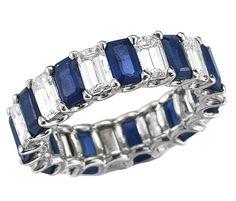 Emerald Cut Diamond & Sapphire Eternity Ring