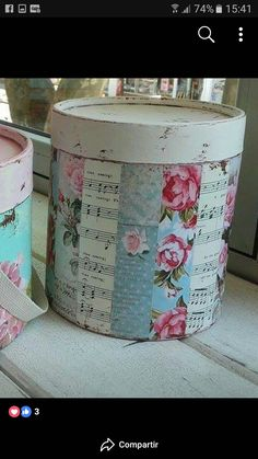 Funky Painted Furniture, Tea Box, Hat Boxes, Ideas Para, Diy And Crafts, Mixed Media, Shabby Chic, Basket, Scrapbook