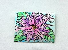 Original Flower Watercolor and Ink ACEO by nightsvision on Etsy