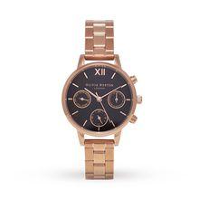 Olivia Burton Midi Chrono Detail Bracelet Black Dial & Rose Gold OB15CGM60