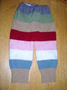 Repurposing sweaters and sweatshirts for baby pants