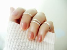 Set Of 4 Sterling Silver Knuckle Rings/above Knuckle Rings/midi Ring/hammered…