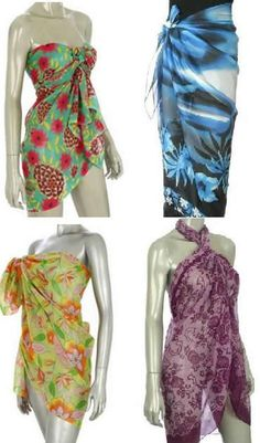 How To Tie a Sarong. Tying a sarong beach wrap cover-up is a great way to arrive in style! These photo examples show a few ideas on how to make a sarong look like a dress or skirt Sarong Dress, Sarong Wrap, Scarf Dress, Ways To Wear A Scarf, How To Wear Scarves, Sarong Tying, Wrap Bathing Suit, Beach Wrap, Diy Scarf