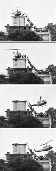 South Viatnemese civilians scrambling to board a CIA helicopter during the U.S. evacuation of Saigon, by Hubert van Es on April 30, 1975