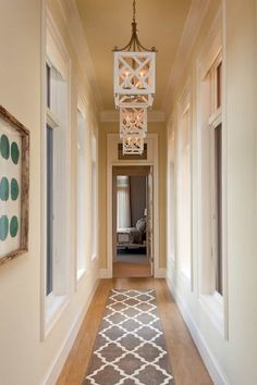 Narrow Hallway With Hanging Lanterns And Runner : Decorating Ideas For Narrow Hallway hallwayideas Modern Hallway, Long Hallway, Upstairs Hallway, Entry Hallway, Hallway Rug, Hallway Runner, Narrow Hallway Decorating, Narrow Entryway, Entryway Lighting