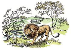 Aslan in a green and new Narnia by Pauline Baynes.