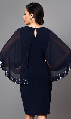 Short knee length navy blue party dress with sequin accented attached cape. Short Semi Formal Dresses, Short Dresses, Plus Size Dresses, Prom Dresses, Knee Length Dresses, Latest African Fashion Dresses, Women's Fashion Dresses, Lace Dress Styles, Short Cocktail Dress