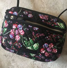 e1e9e1e273a2 Vera Bradley RFID Iconic Little Crossbody - Winter Berry Bag New NWT Black   VeraBradley