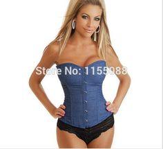 ジーンズ胴鎧プラス サイズ の女性服セクシー な ブルー デニム コルセット付き レース ひも を磨耗し トップス