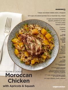 Moroccan Chicken with Apricots & Squash: This fabulous one-pot meal can be made in a slow cooker or a pot in the oven. If you don't have apricots on hand, try prunes, and pumpkin is tasty instead of squash.