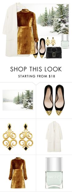 """""""Gold"""" by consuelor ❤ liked on Polyvore featuring Pottery Barn, Zara, MANGO, A.L.C., Nails Inc. and Gucci"""