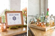 Copper Wedding Moscow Mule - Moss & Copper Wedding Inspiration Styled Shoot featured on Rocky Mountain Bride. Moscow Mules, Moss Escort Card Display, Geometric accents