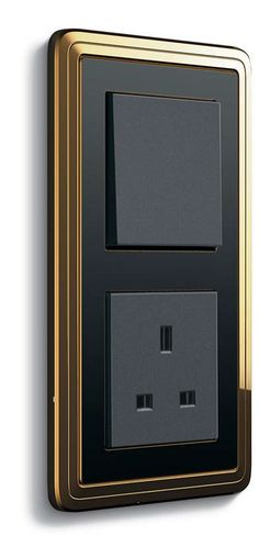 Gira ClassiX, brass-black / anthracite, push switch / British Standard 1-gang socket outlet