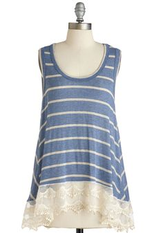 Delight to Display Top. Its clear that this striped trapeze top is one of your favorites! #blue #modcloth