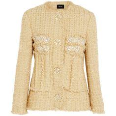 Simone Rocha Embellished metallic tweed jacket ($1,715) ❤ liked on Polyvore featuring outerwear, jackets, tops, gold, simone rocha, embellished jacket, metallic tweed jacket, metallic jacket and victorian jacket