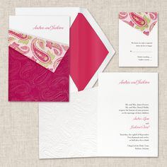 Paisley Passion Wedding Invitation (available in other colors) | #exclusivelyweddings | #pinkwedding