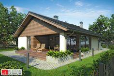 Pelikan V S-GL 804. Kto szuka domu parterowego o powierzchni do 100 metrów kwadratowych, z garażem w bryle i dwuspadowym dachu, mając niezbyt szeroką działkę, powinien zainteresować się projektem Pelikan V. Dom ma służyć 2-3 osobowej rodzinie, chcącej spędzać czas wyłącznie na jednym poziomie. Niewątpliwą zaletą tego budynku jest przemyślana funkcja, prosta konstrukcja i niewielkie gabaryty, co stwarza szansę na zminimalizowanie jego kosztów budowy.