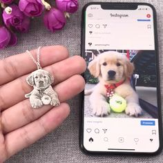 This photo pet necklace is the best way to honor your pets memory. It's the perfect gift for any pet lover and can bring tears of joy. Dog Jewelry, Animal Jewelry, Cute Baby Animals, Animals And Pets, Funny Animals, Gato Gif, Dog Necklace, Picture Necklace, Dog Items