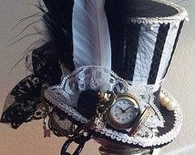 Alice in Wonderland Mad Hatter Humbug Black & White Stripe nacht Circus donkere Alice Mini cilinderhoed Steampunk hoed