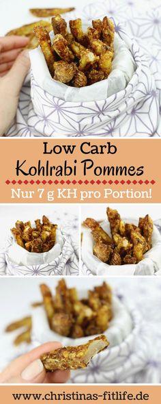 Leckere Low Carb Kohlrabi Pommes mit Parmesankruste. Eine Portion hat nur 7 g Kohlenhydrate und ca. 28 g Eiweiß. Optimal für nach dem Sport/Training!