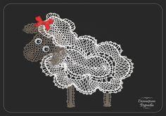 Овечка.Кружевоплетение на коклюшках. Sheep. Bobbin lace