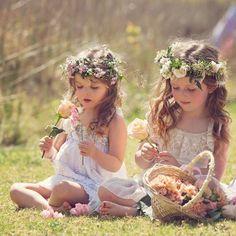 boho wedding ideas-flower girl hairstyes with flower crown - Deer Pearl Flowers Boho Flower Girl, Flower Girls, Flower Girl Dresses, Flower Crowns, Flower Garlands, Flower Children, Frilly Dresses, Deer Wedding, Boho Wedding