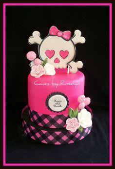 pink and black skull cake