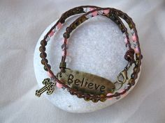 Coral Tigers Eye believe bracelet - Tigers Eye for insight and clarity, plus Coral for peace . . and a Christian Cross to believe it's so