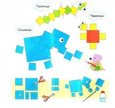 Аппликация для детей из геометрических фигур / Детское творчество - аппликации, поделки из цветной бумаги, картона, теста, пластилина, пластиковых бутылок для детей / Лунтики. Развиваем детей. Творчество и игрушки