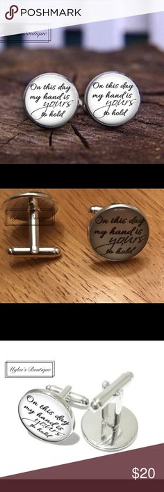 """✨Bride to Groom Wedding Gift Cufflinks Set  These are a unique pair of wedding men's Cuff Links. They  have a glass dome which is black and white in appearance, with a silver back made of stainless steel. Has the words """"On this day, my hand is yours to hold."""" Makes a great gift idea!  Accessories Cuff Links"""