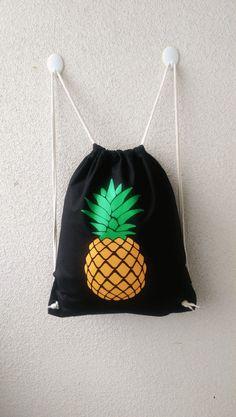 """Turnbeutel - Turnbeutel/Rucksack schwarz """"Ananas"""" - ein Designerstück von Tshirt-Paul bei DaWanda"""
