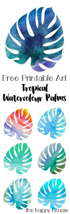 Tropical Watercolour Palm Leaves Free Summer Printables - The Happy Housie