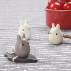Mignon en céramique vaisselle baguettes titulaire cadre Totoro animal de bande dessinée baguettes rack stand reste