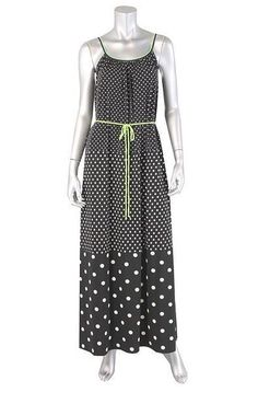 Tiana B Misses' Dot Belted Maxi Dress in Black - Large #TianaB