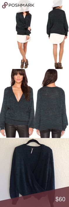 Free People Karina Slouchy Wrap Front Sweater - Emerald with tones of various shades of green. Marled wool, mohair, & alpaca blend knit sweater. Perfect for layering! - Excellent Preowned Condition.  - No Trades. Free People Sweaters V-Necks