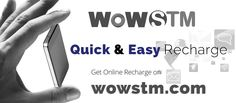 Get Excellent Online Recharge Services with Exciting Offers at Wowstm.com. #quickrecharge, #onlinerecharge, #rechargeservices, #mobilerecharge, #easyrecharge, #phonerecharge