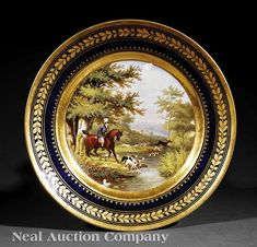 Paris Porcelain Gilt and Polychrome Plate, early 19th c., probably Darte Freres