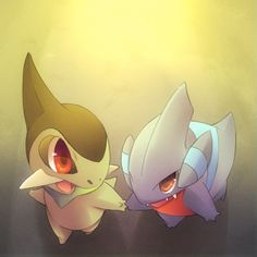 Axew and Gible. Don't forget to like this Pokemon Facebook page for more cool Pokemon content: http://www.facebook.com/shinydragonairx