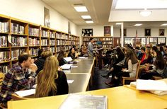 Students at Ocean City High School listen as presenters speak on different aspects of black history.