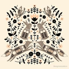 'Woodland Folklore ' Art Print by limegreenpalace Scandinavian Pattern, Scandinavian Folk Art, Nordic Art, Art And Illustration, Woodland Illustration, Cat Illustrations, Pattern Art, Art Boards, Art Inspo