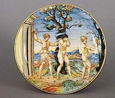 Musée d'Ecouen - Adam et Eve chassés du Paradis terrestre. ECL2314. RIMINI (origine) 1535. Faïence, majolique.